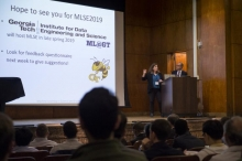 Dana Randall addresses the audience of the new Machine Learning in Science and Engineering Conference, held at Carnegie Mellon University